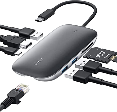 SD/&MicroSD Card Slots,... 7-in-1 Adapter with 3 3.0 Ports AUKEY USB C Hub