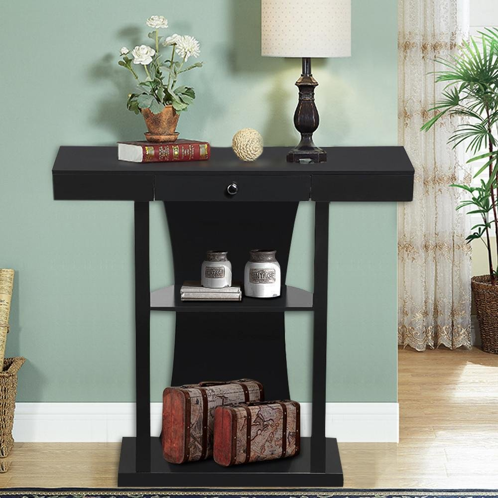 Topeakmart 3 Tier Console Table with Drawers Collection Shelf Hallway Entryway Furniture Black