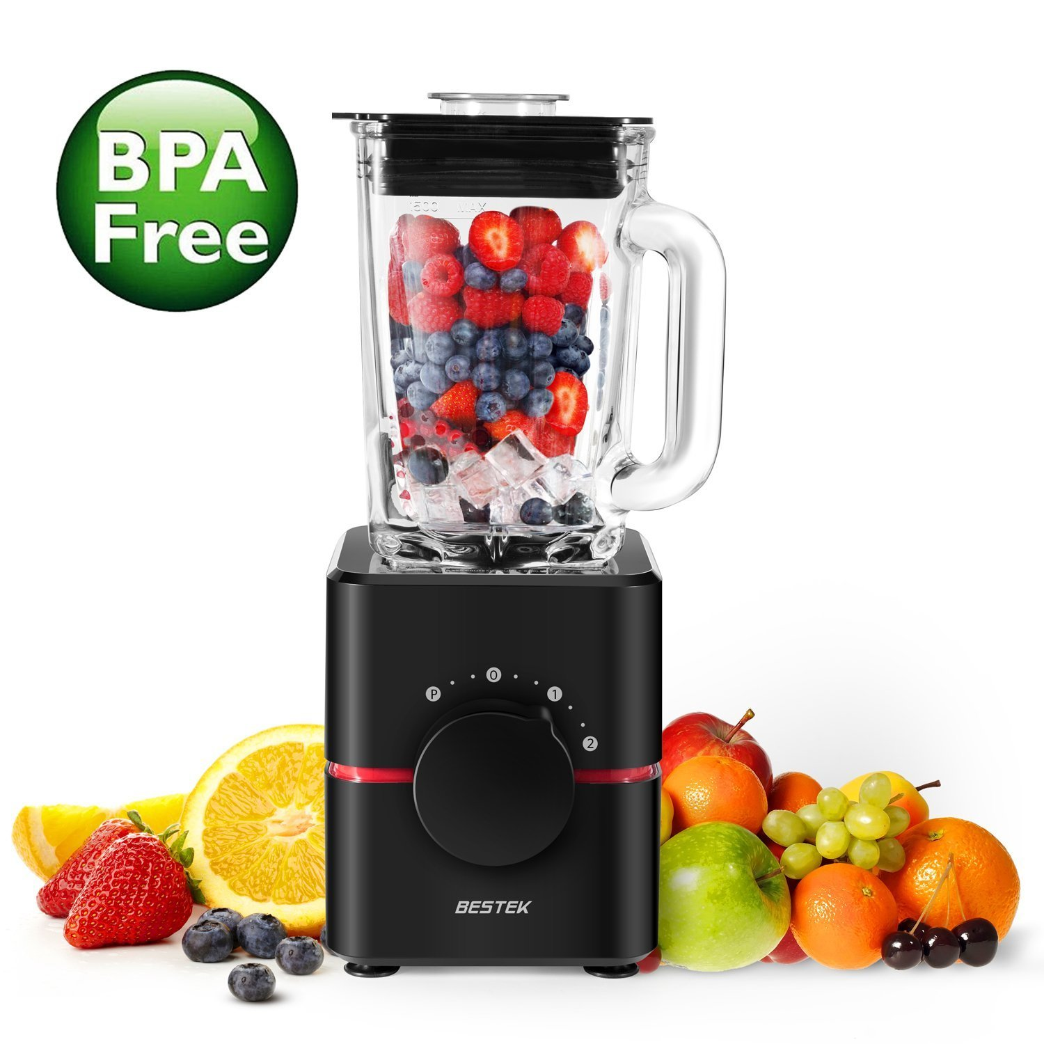 BESTEK 1000W Glass Jug Blender, Powerful Smoothie Maker, Nutri Extractor, Ice Crusher, 1.5 Liter Jar, Black BESTEK GLOBAL LTD