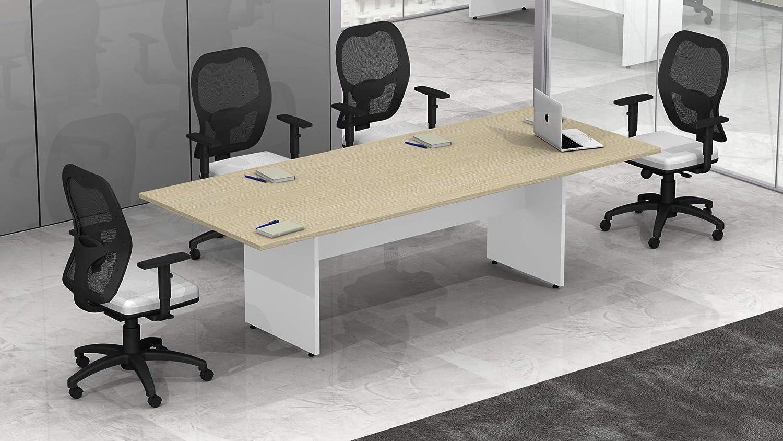 Bianco//Argento BIA0042 - 899 , 240 Fumu Tavolo riunione Ufficio Rettangolare Legno pannellato L.240 TR014 Net