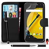 Motorola Moto E 2nd Gen Premium Leather Black Wallet Flip Case Cover Pouch + 2 IN 1 Ball Pen Touch Stylus Pen + RED 2 IN 1 Dust Stopper + Screen Protector & Polishing Cloth SVL6 BY SHUKAN®, (WALLET BLACK)