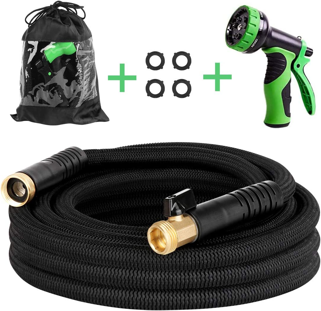 25 ft Expandable Garden Hose - New Lightweight Flexible Water Hose with Solid Brass Fittings, Extra Strength Casing, Durable Latex Tube - Retractable Expanding Gardening Hoses with Spray Nozzle