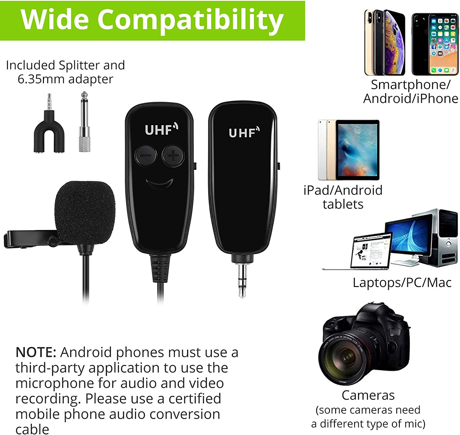 Ipad Samsung DSLR Camera LiNFOR Wireless Lavalier Lapel Microphone Portable Rechargeable UHF Wireless Lav Mic System,for Apple iPhone Android Phone Recording