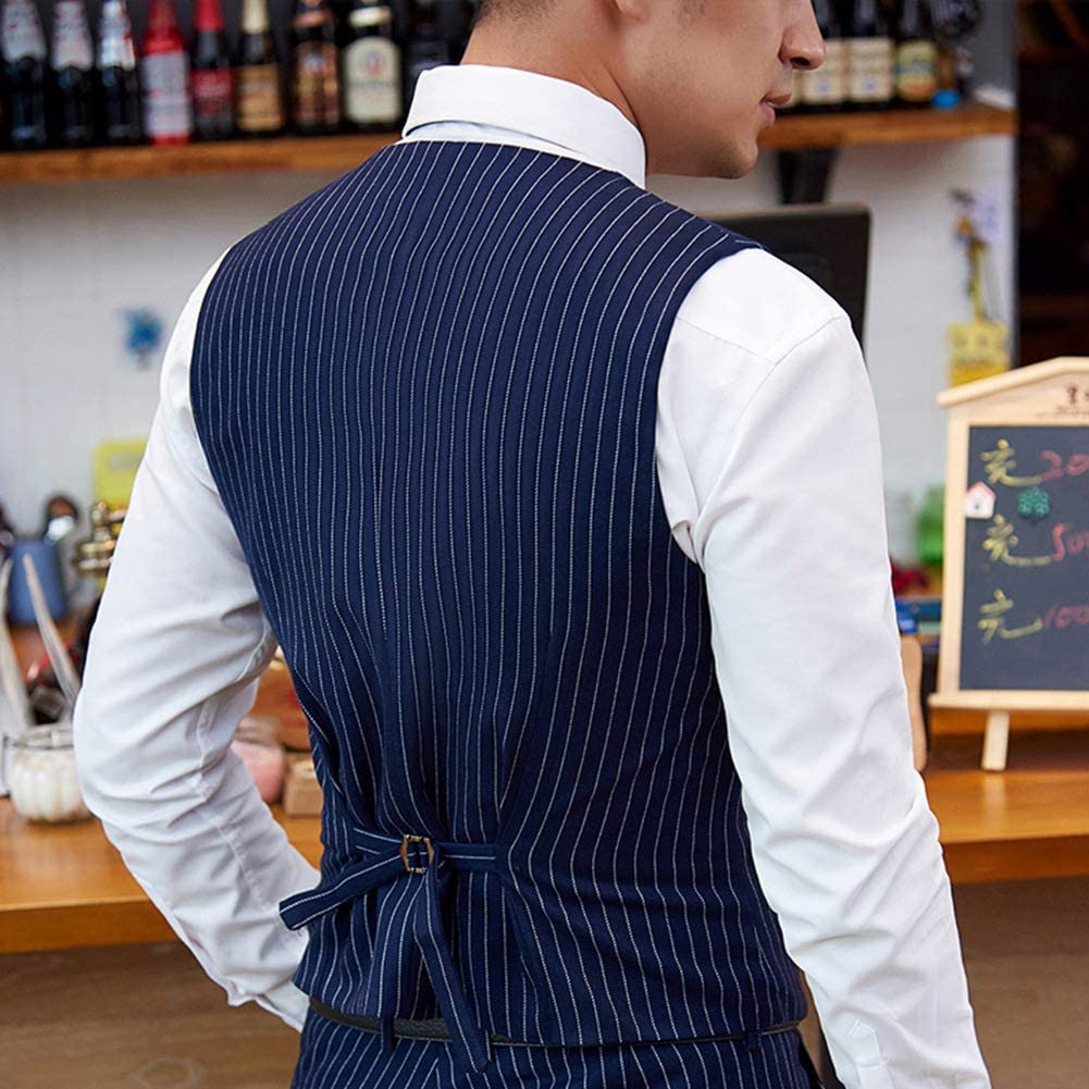 PAISUN Mens Pinstripe Suits 3 Pieces Slim Fit Business Casual Tuxedo