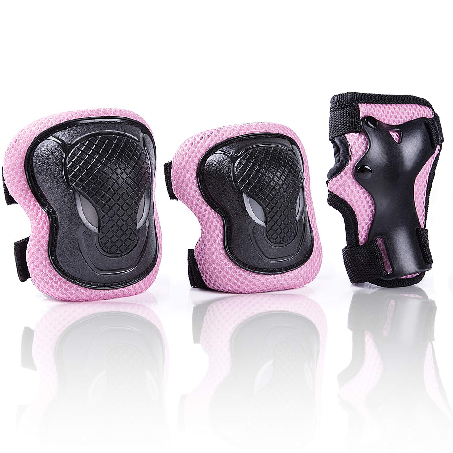 Kuxuan Girl's Cira Pink Protective Gear Set Including Knee Pads Elbow Pads and Wrist Guards, For Kid Multi Sports Uses: Skateboarding, Roller Skating, Cycling, Balance Biking, and Scooter - Small