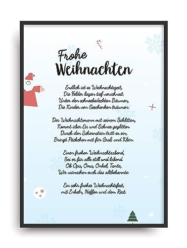 Frohe Weihnachten Rahmen.Geschenk Karte Frohe Weihnachten Kunstdruck 1 2 Tag Heiligabend