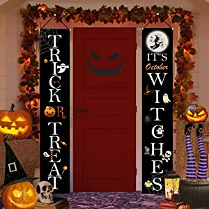 Halloween Decorations Outdoor Porch Signs, Trick or Treat & It's October Witches Halloween Porch Decorations Hanging Signs, Halloween Front Door Decorations Banners