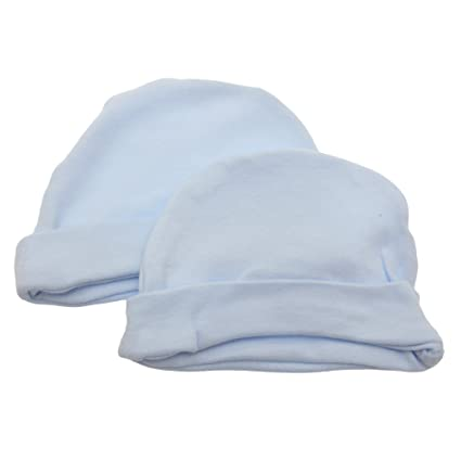 9b4e67ee79e Baby Newborn 100% Cotton Allergy Free Hat Boy Girl Unisex Options (Pack of  2) (Newborn) (Blue)  Amazon.co.uk  Clothing