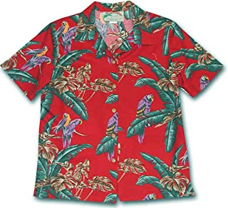 product image for Paradise Found Women's Jungle Bird Aloha Shirt, Red, L