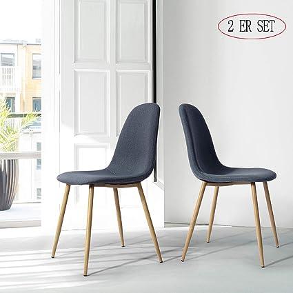 WarmCentre Sedie da Pranzo Moderne Set di 4, Sedia da Cucina Stile Tulipano  Cuscino in Ecopelle Imbottita Gambe in Legno massello per Un Comfort Extra  ...