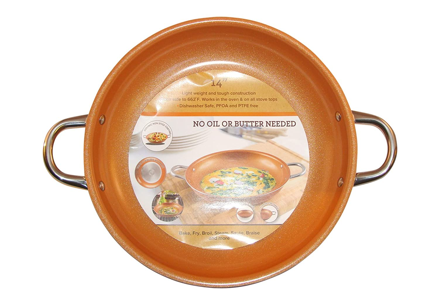 Copper Frying Pan 14-Inch Non Stick Ceramic Infused Titanium Steel Oven Safe, Dish Washer Safe, Scratch Proof Round Handles For Comfort Grip