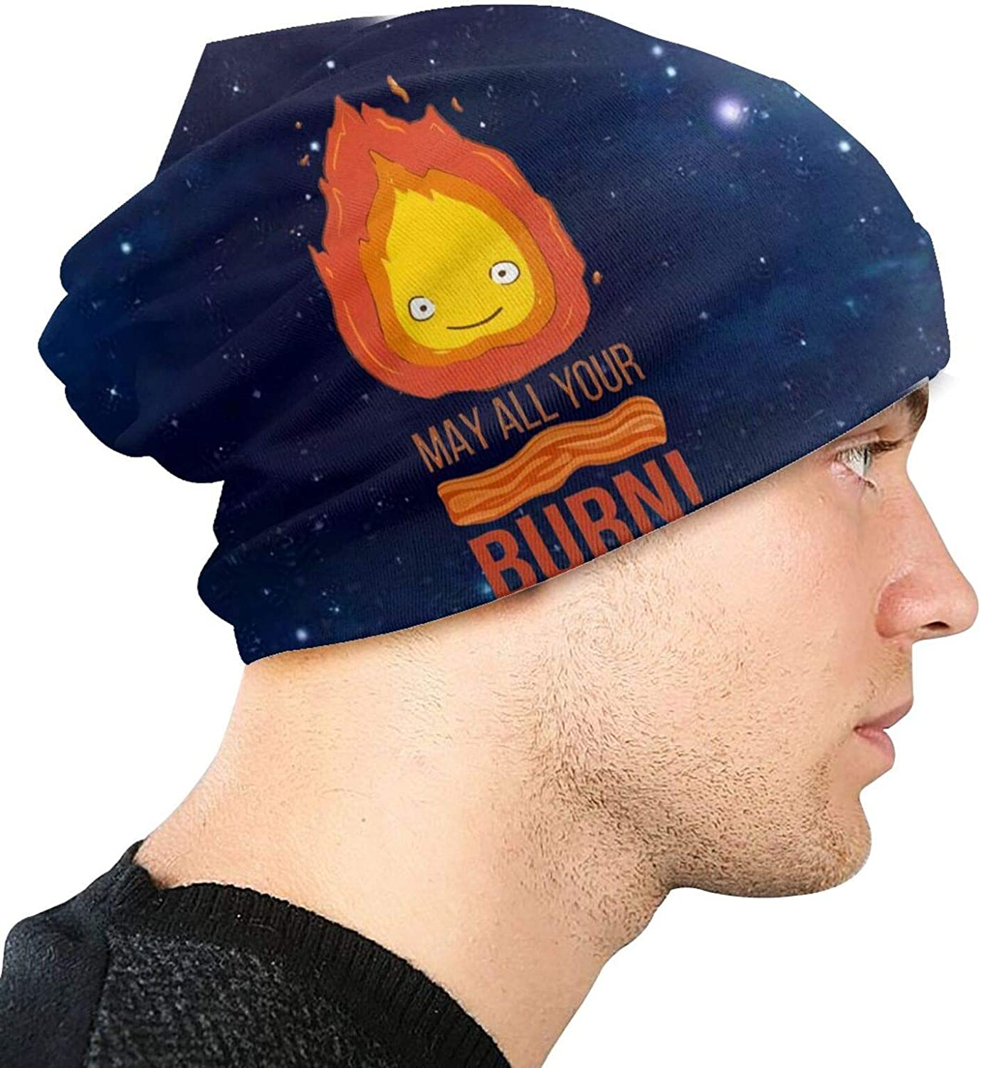 Luomingg Studio Ghibli Calcifer May All Your Bacon Burn Howls Moving Castle Men's Knit Cap Knit Hat Skull Beanie Caps