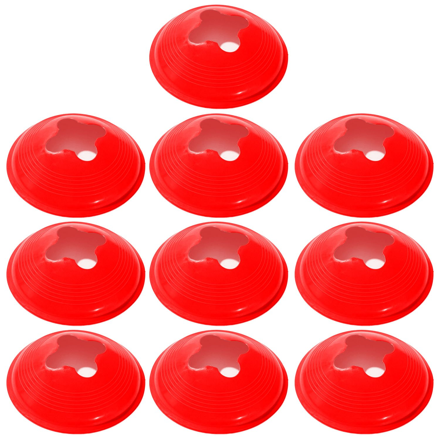 10 PCS Red Sports Space Field Markers Cones Agility Safety Disc Cones for Soccer Football Basketball Footwork Training Elisona