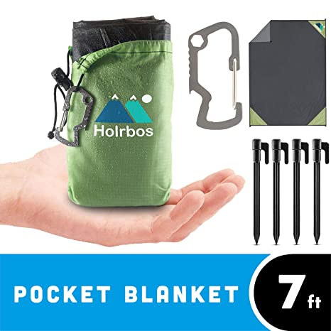 7b4468f30 Holrbos Compact Outdoor Pocket Blanket | Water Resistant + Sand Proof Mat  Best for Beach, Picnic, Camping, Hiking | Included 2 in 1 Carabiner Bottle  Opener, ...