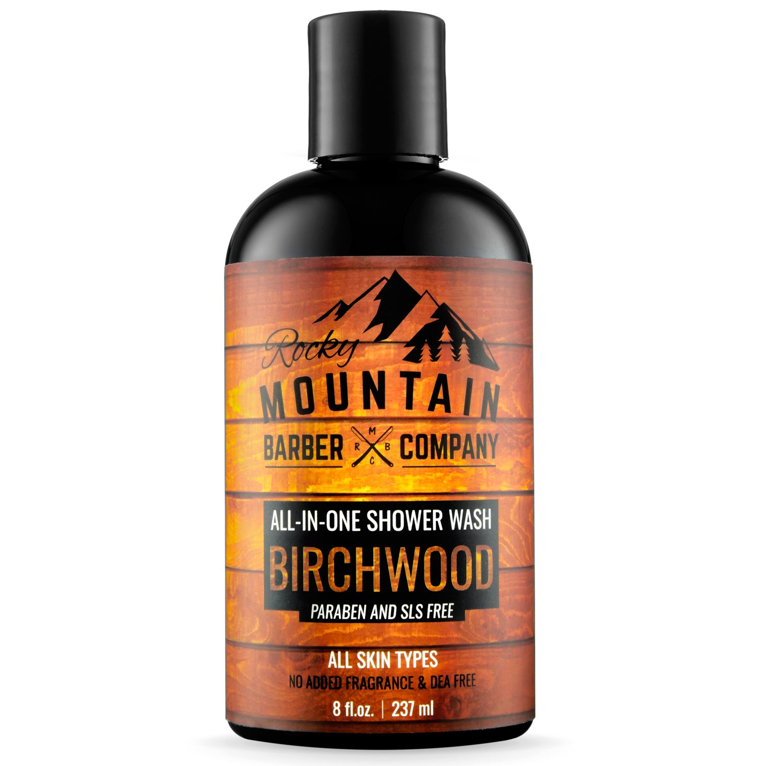 All-in-One Shower Wash for Men - Canadian Made Shampoo, Body Wash, Conditioner, Face Wash & Beard Wash with Essential Oils - Birchwood Scent - 8 oz