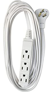 coleman cable 03518 flat plug extension cord, 16/3 grounded with 3-outlet