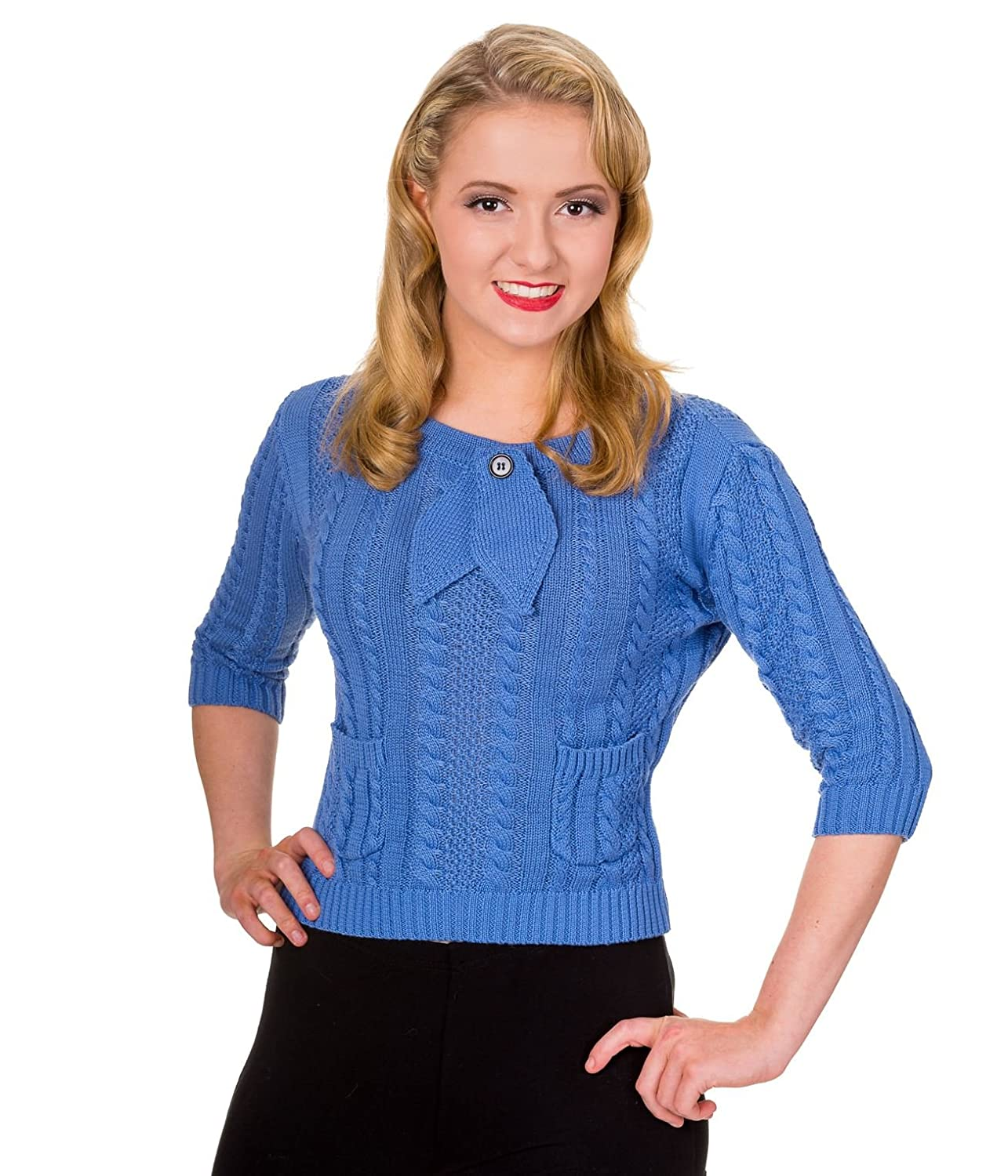 1950s Sweaters, 50s Cardigans, 50s Jumpers Banned Apparel Slippery Slope Vintage Retro Knitted Bow Top £19.99 AT vintagedancer.com