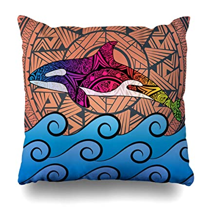 5f201e9d2fae AileenREE Throw Pillow Covers Folk Blue Painting Killer Whale Tribal Sun in  Waves Wildlife LSD Red