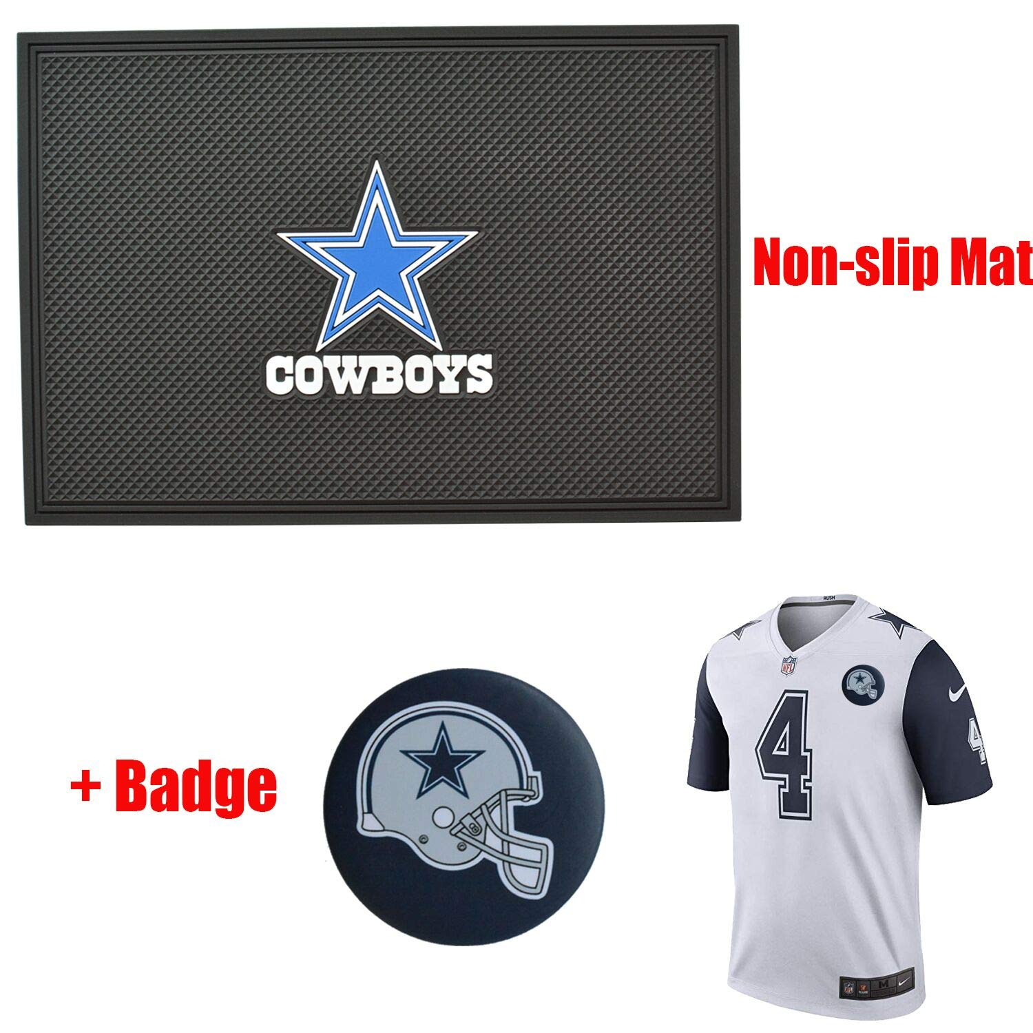 2 Pack NFL Cowboys Logo Universal Anti-Slip Sticky Anti Slide Dash Cell Phone Mount Holder Mat Car Dashboard Sticky Pad Adhesive Mat-Holds Cell Phones Keys and More,With Cowboys Keychain. Sunglasses