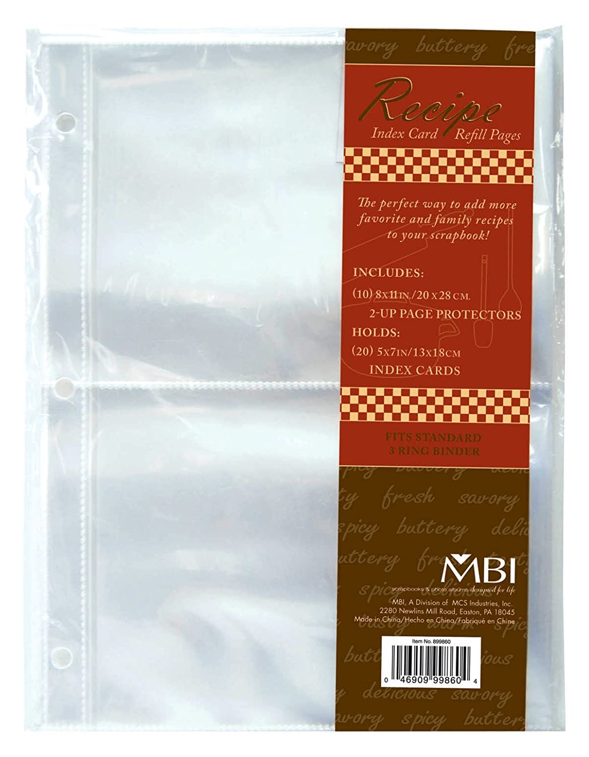 amazon com mbi 5x7 inch recipe 2 up refill pages 10pk 20 pockets