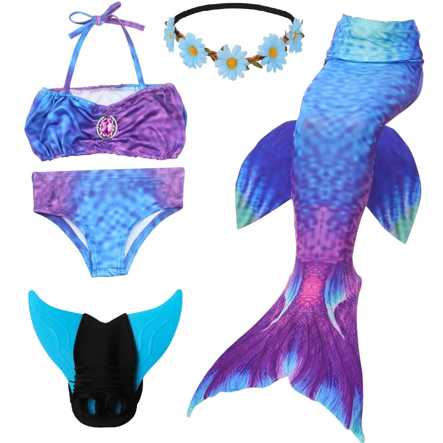 cf8d919d94dc9 Galleon - 5 Pcs Mermaid Tail Swimsuit Included Monofin And Flower Headband  Wet Dry For Kid