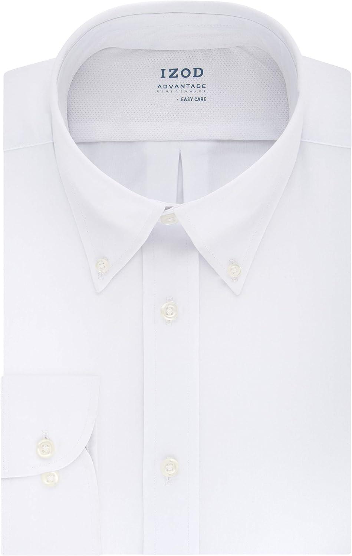 IZOD Men's Dress Shirt Regular Fit Stretch Cool FX Cooling Collar Solid