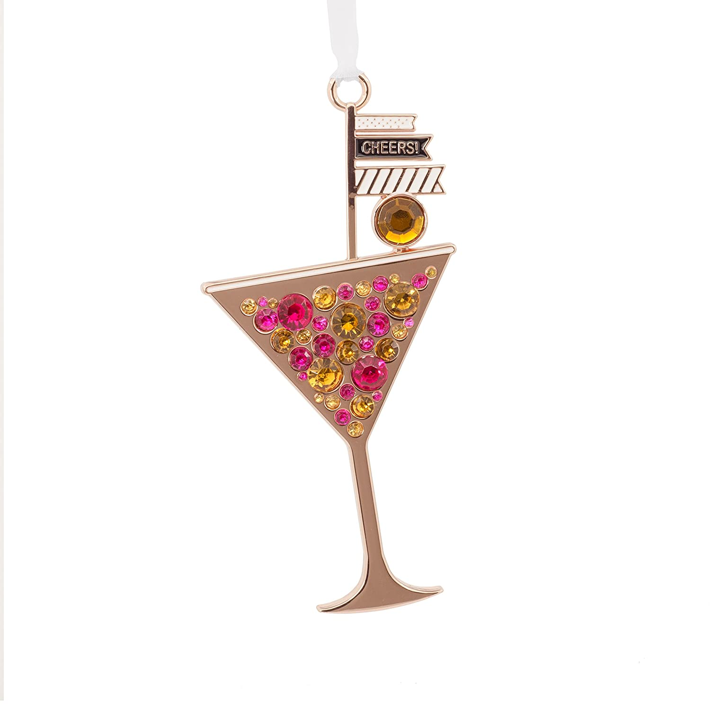 Hallmark Martini Happy Hour Glass Metal Signature Premium Christmas Ornaments Hallmark Cards 1HDL2048