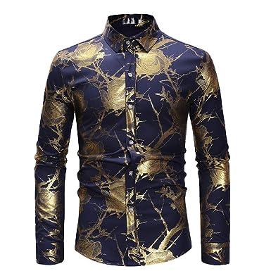 big sale 52bf5 397d9 Battnot Herren Hemd Schwarz Langarm Fashion Casual Leinen Basic Bluse Top  die Revers Regular Fit T Shirts Floral Gold Rose Gedruckt Männer Slim Fit  ...