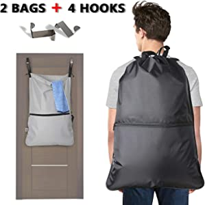 LUXJA 2 Pcs Laundry Backpack, Laundry Bag with Extra Stainless Steel Door Hooks and Shoulder Straps, Black + Gray