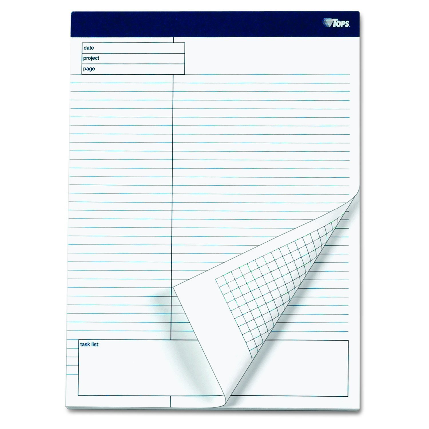 2 X TOPS Docket Gold Project Planning Pad, 8-1/2 x 11-3/4 Inches, Perforated, White, Project Rule, 40 Sheets per Pad, 4 Pads per Pack (77102)
