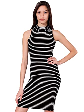 06914f5047382 American Apparel Stripe Cotton Spandex Jersey Sleeveless Turtleneck Dress -  Black Natural Narrow Stripe   L  Amazon.co.uk  Clothing