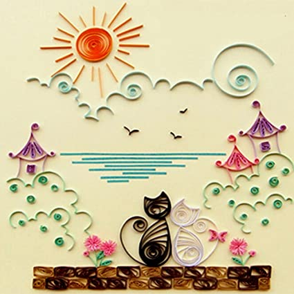 Amazon Colorful Quilling Paper Craft Kits Set Tool Rolling Strips DIY Collection Home Decoration Crafts Material Package Beginner Learning Cat