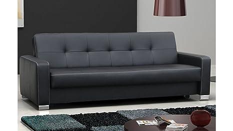 JUSTyou LEO Sofá de piel ecológica función de Cama Negro ...