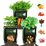 【3 Pack】 Potato Grow Bags, Plant Grow Bags 7 Gallon Heavy Duty Thickened Growing Bags Planting Pots Container Garden Vegetabl