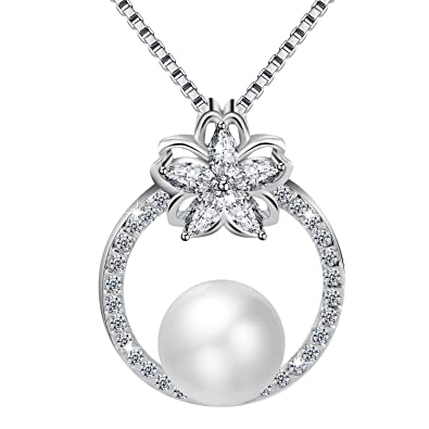 Pearl Star Pendant 925 Sterling Silver Necklace Chain Womens Jewellery Gifts UK