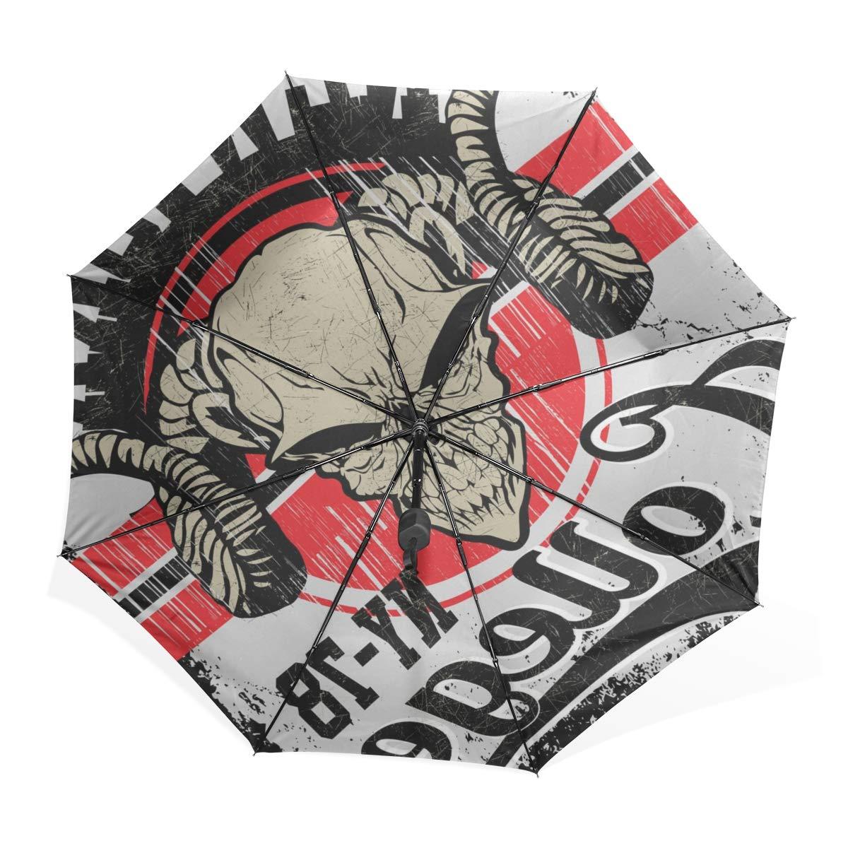 XiangHeFu Parapluie Demon Skull Ouverture Automatique Ferm/é 3 Plis L/éger Anti-UV