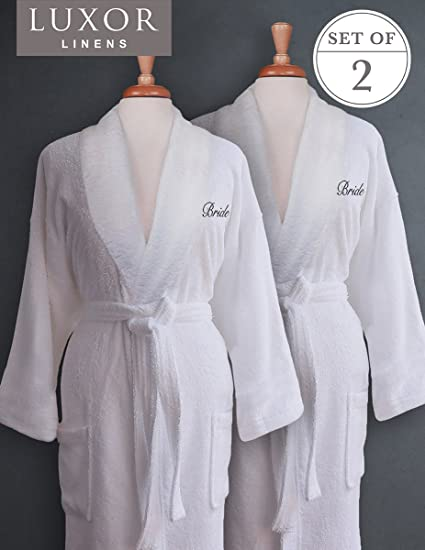 Image Unavailable. Image not available for. Color  Luxor Linens - Terry  Cloth Bathrobes - 100% Egyptian Cotton Bride and Bride Bathrobe Set 824d81493