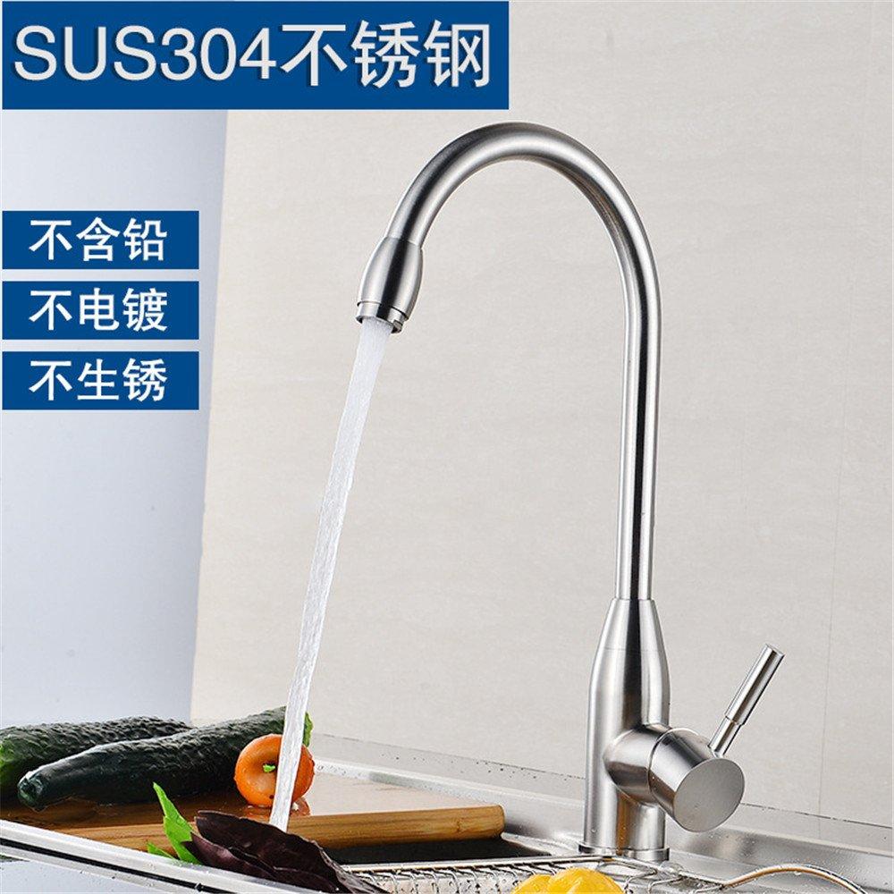 T-TSLT Edelstahl 304 rostfrei gebürsteter heißer und kalter Tellerhahnküche, die Drehschlüsselhahn wäscht