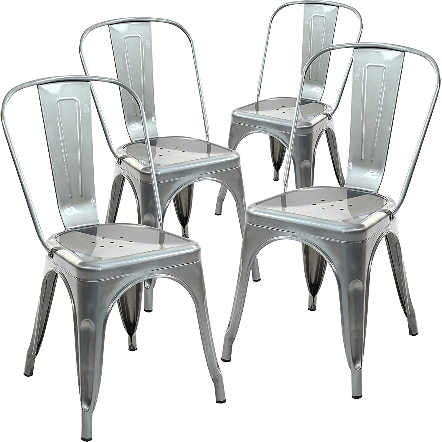 poly and bark tolix style bistro a dining side chair set of 4 - Best Dining Chairs