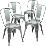 Amazon Price History for:Poly and Bark Tolix Style Bistro A Dining Side Chair (Set of 4), Polished Gunmetal