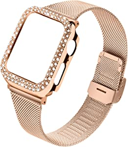 Joyozy Stainless Steel Mesh Bands Compatible for Apple Watch 38mm,Women Bling Protective Crystal Diamond Case with Loop Mesh Strap for Apple Watch Series 3/2/1(No Tool Needed)(Rose Gold, 38MM)
