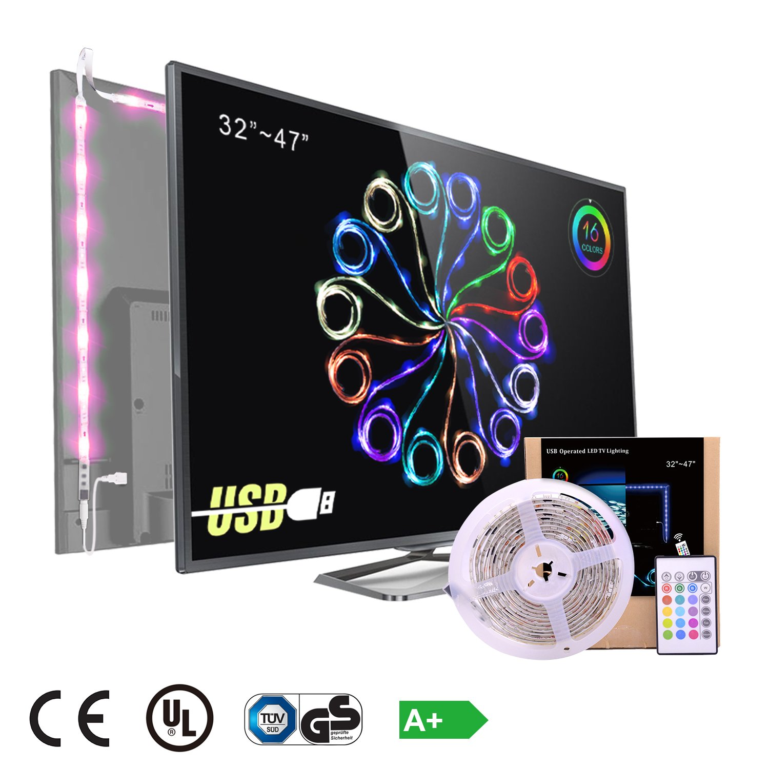 Pangtong Villa 5050 Led light Strip TV Backlight for 32 to 47 Inch,Pack of 4 Pre Cut [Energy Class A+]