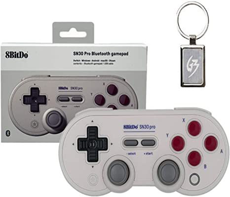 Mcbazel 8bitdo SN30 Pro G Classic Edition Controller Wireless Bluetooth 4.0 Gamepad for Nintendo Switch, Windows, Android, macOS, Steam with free Keychain: Amazon.es: Videojuegos