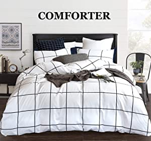 CLOTHKNOW White Comforter Queen Plaid 3 Pieces Full Bedding Comforter Set for Women Men Black and White Big Grid Print Black and White Comforter Sets with 2 Pillowcases