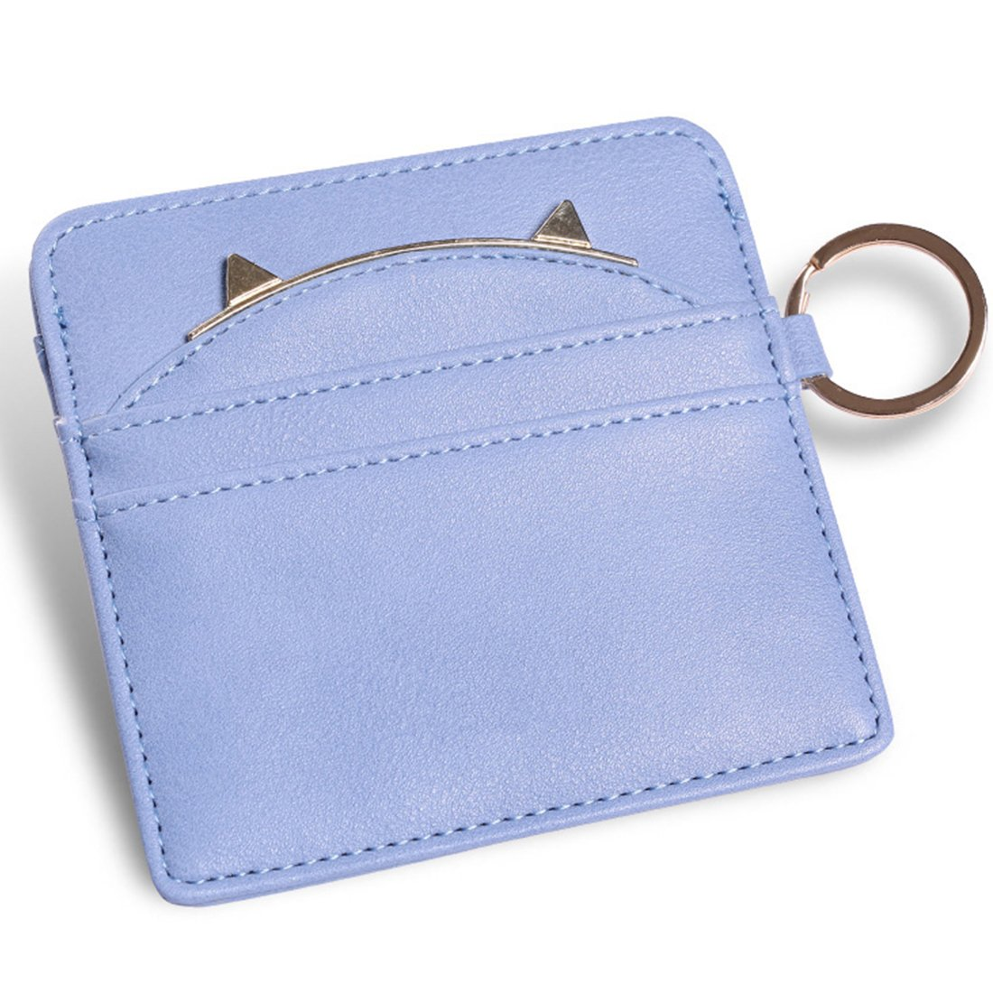 Nico Louise Cat Ear Leather Coin Purses Women Key Chain Credit Card Holders Girls Wallet (Blue)