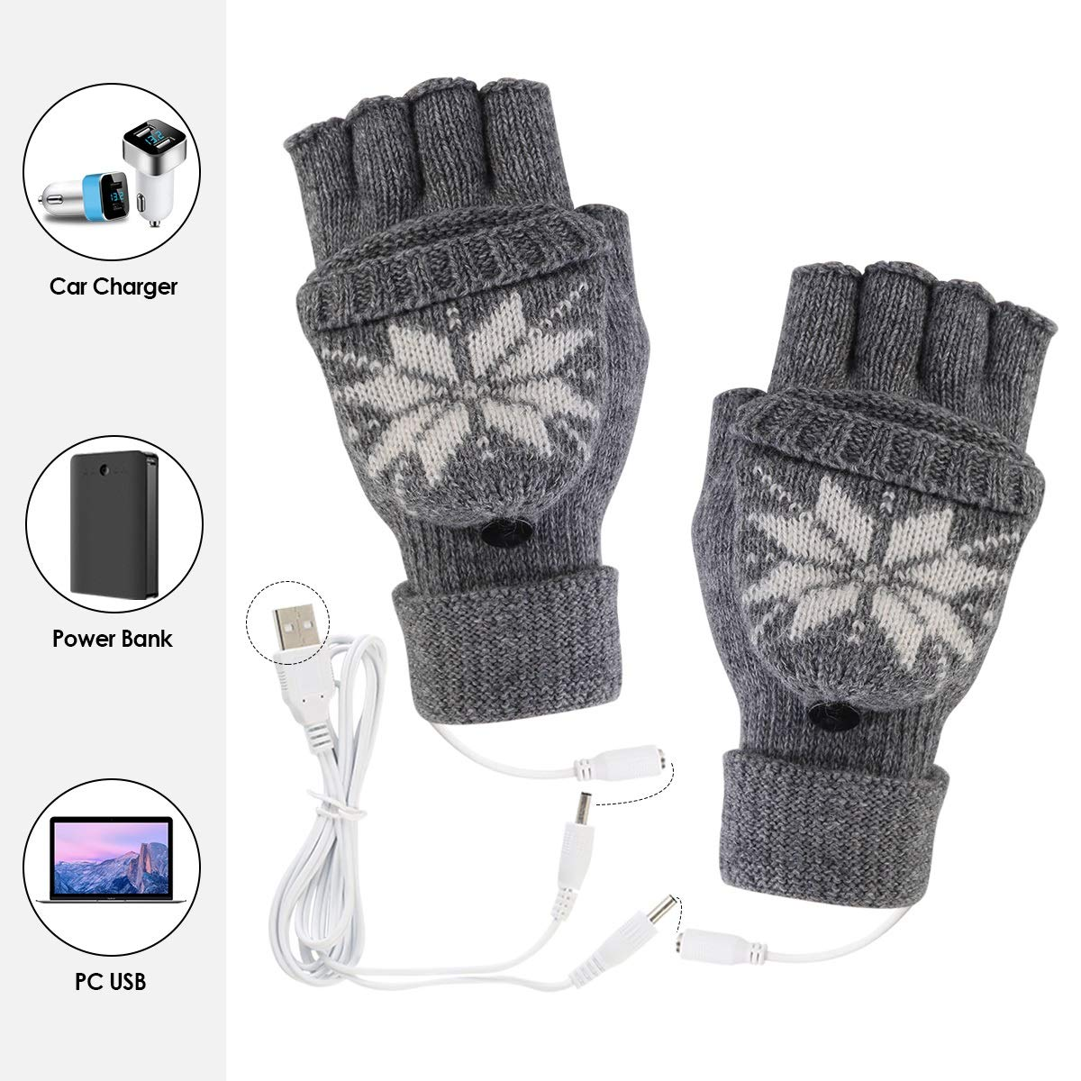5V USB Powered Two-Sided Heating Heated Gloves Winter Hand Warmer Gloves Warm Typing Gloves Color : Gold