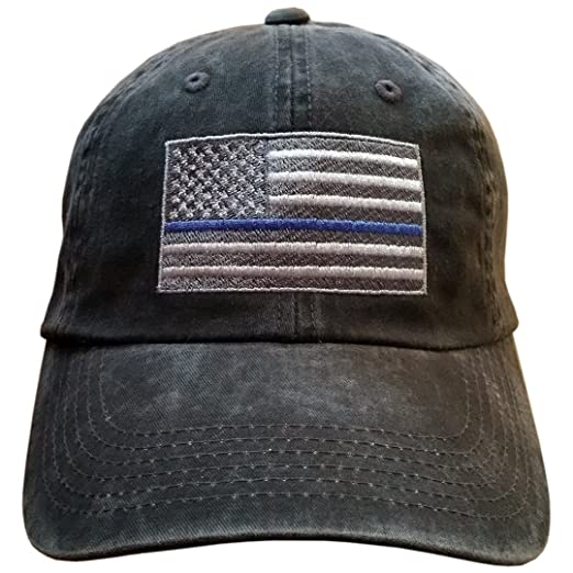 American Flag Support Our Police   Law Enforcement  (AmerFlagBlueLine DistressedBLACK) d489f7fae4e9