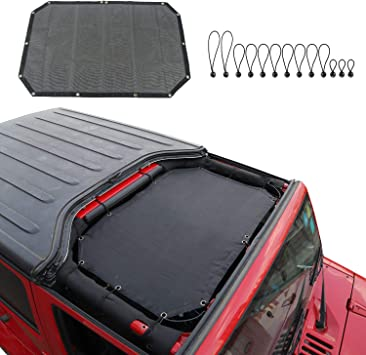 JeCar for Jeep JK Sunshade Mesh Top Mesh Top Sun Shade JK Front Sunshade UV Protection for 2007-2018 Jeep Wrangler JK 2Door and 4 Doors