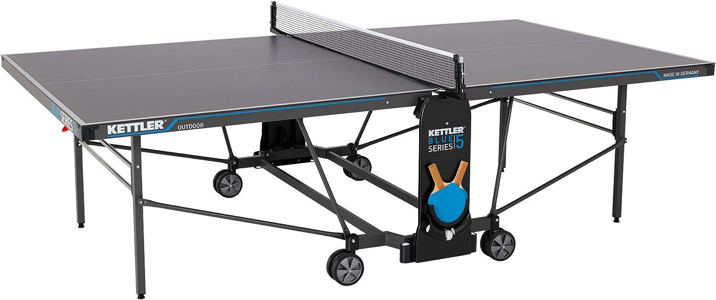 KETTLER K5, Table de tennis de table professionnelle d'extérieur, Qualité tournoi, Plateau robuste en résine mélamine de 5 mm et revêtement anti-rayures,Pliable, Fabriquée en Allemagne