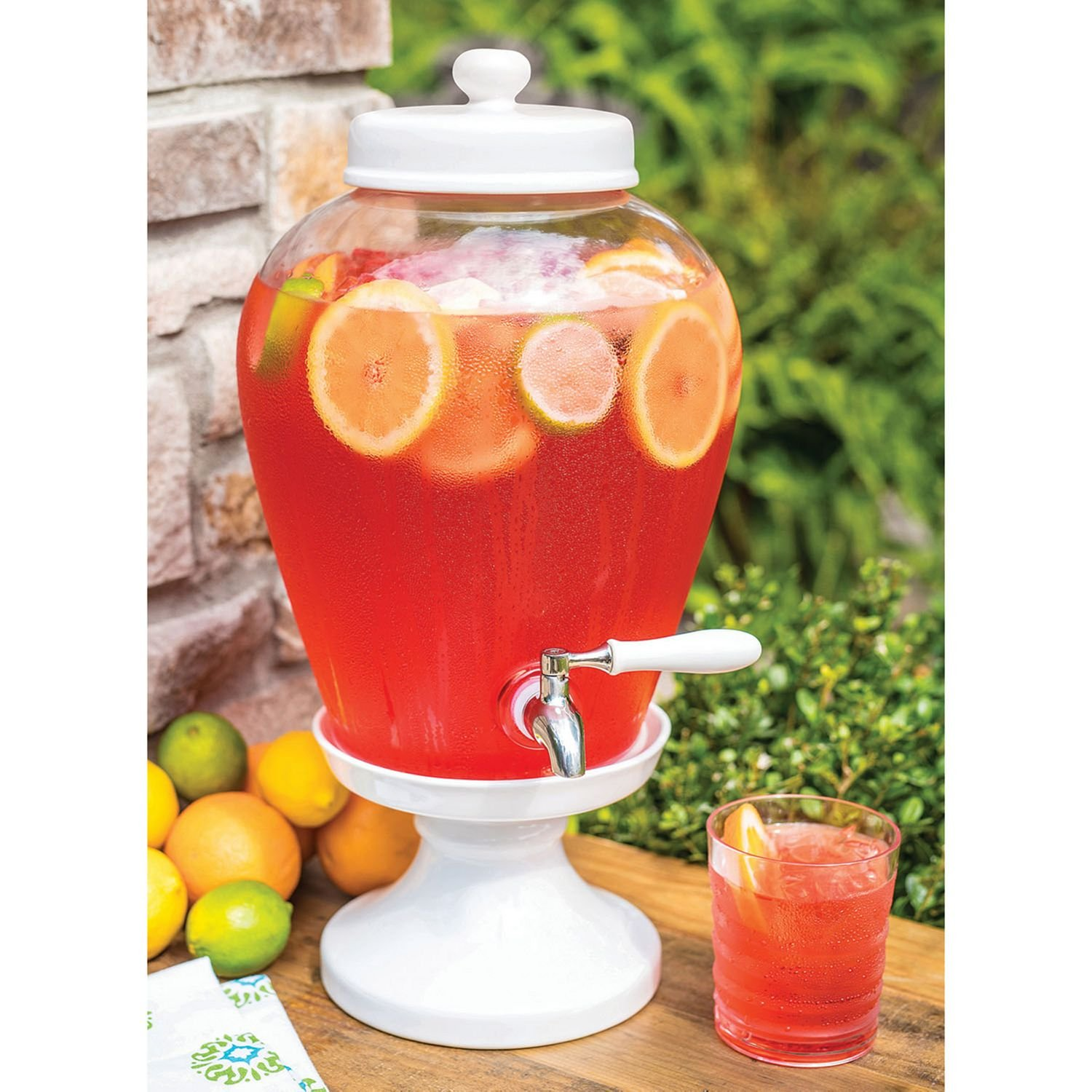 Sam's West Ceramic Pedestal Glass Beverage Dispenser (2.5 gal.)